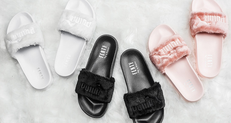 "half off e7549 a20f0 1 Month In $$: Rihanna+ Fenty ""Fur Slides"" – Sock The Walk"